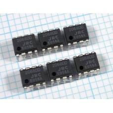NJM2068DD Dual Low Noise Audio Op Amp, DIP, Qty 6